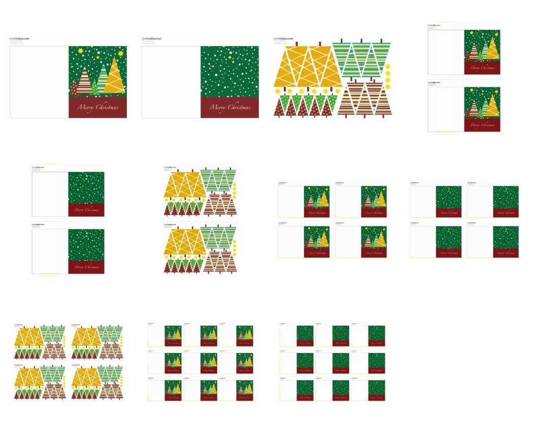 Festive Card Set - Christmas Trees 11 Pages to Download