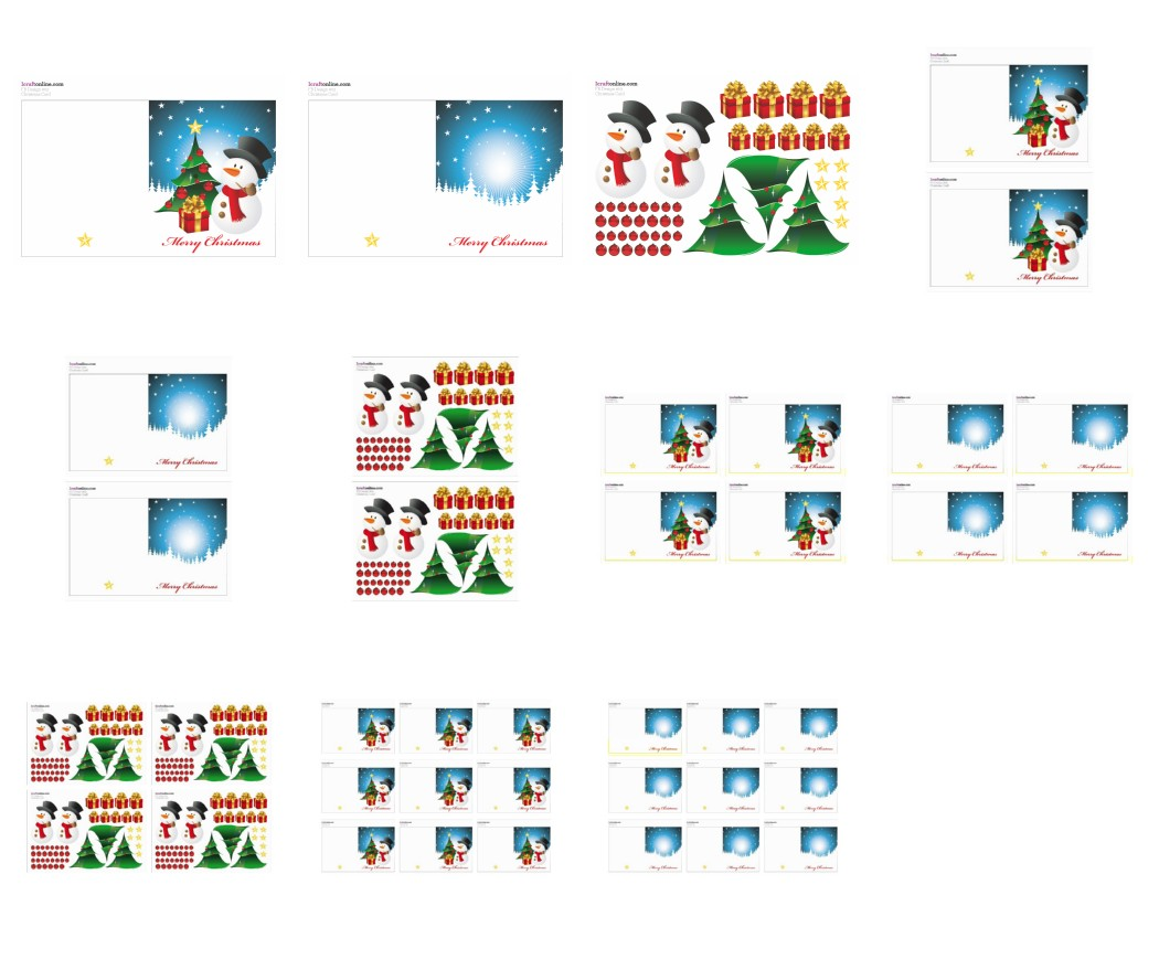 Festive Card Set - Snowmen 11 Pages to Download