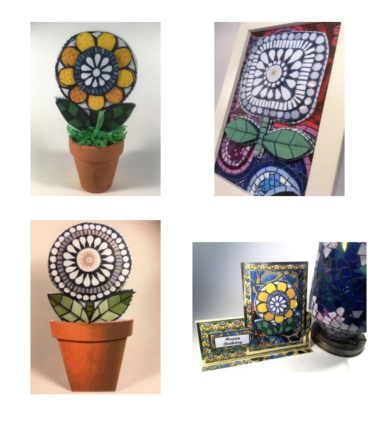 Mosaic Flowers Download Set - 6 Sizes - 120 Pages to Download