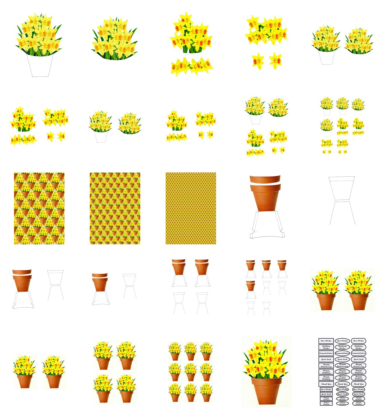 Spring Daffodil Set 02 Flowers - 25 Pages to Download