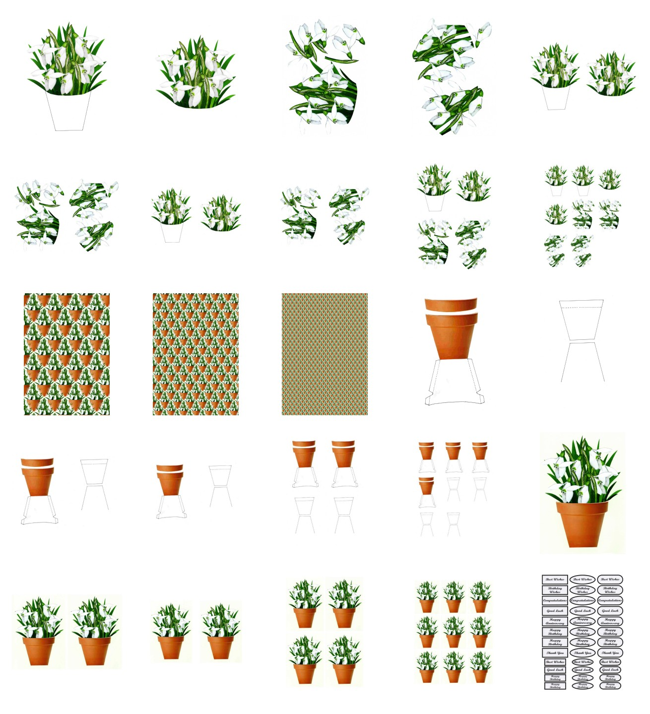Spring Snowdrop Flowers Set 01 - 25 Pages to Download