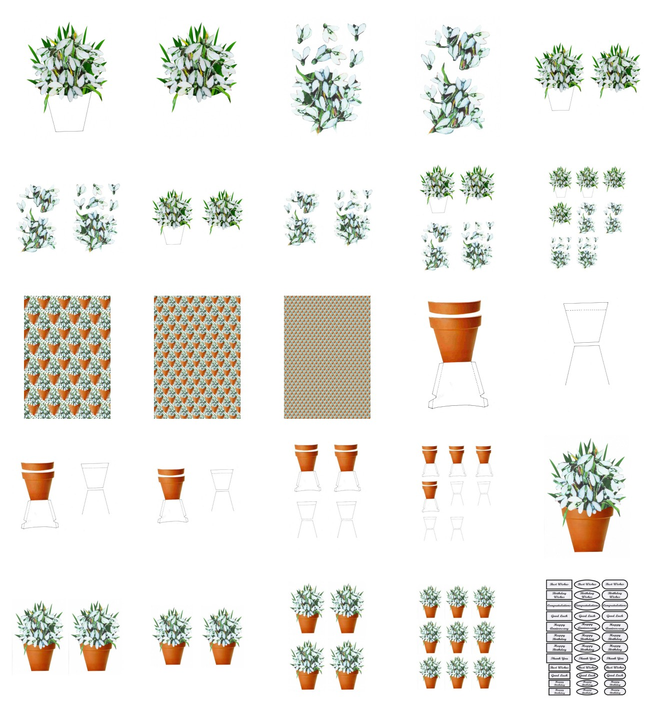 Spring Snowdrop Flowers Set 02 - 25 Pages to Download