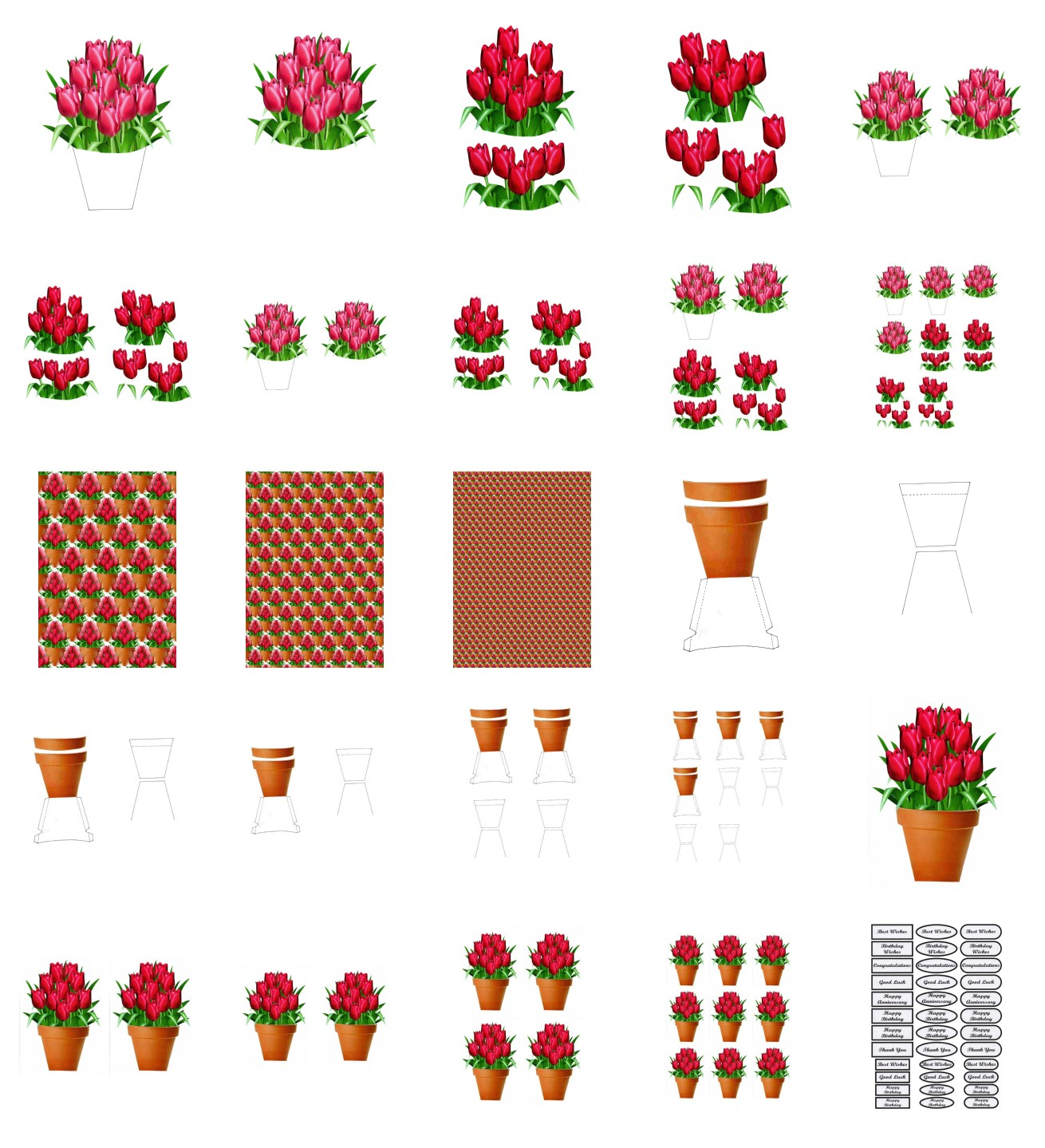 Spring Tulip Flowers Set 01 - 25 Pages to Download