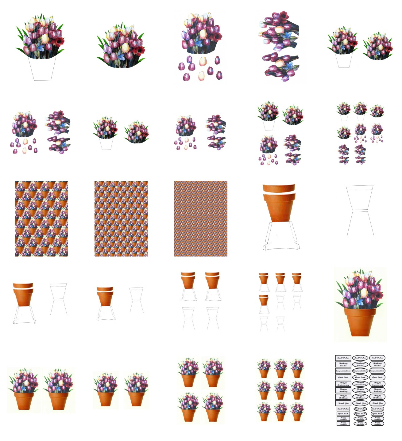 Spring Tulip Flowers Set 02 - 25 Pages to Download