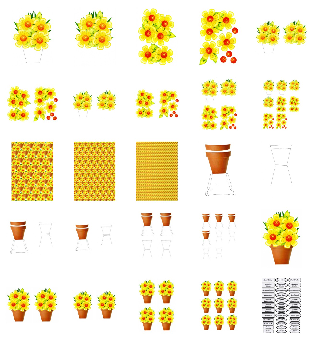 Spring Yellow Flowers Set - 25 Pages to Download