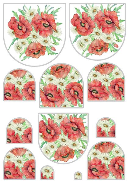 Poppies & Daisies Stacked Decoupage Set - 20 x A4 Pages to DOWNLOAD