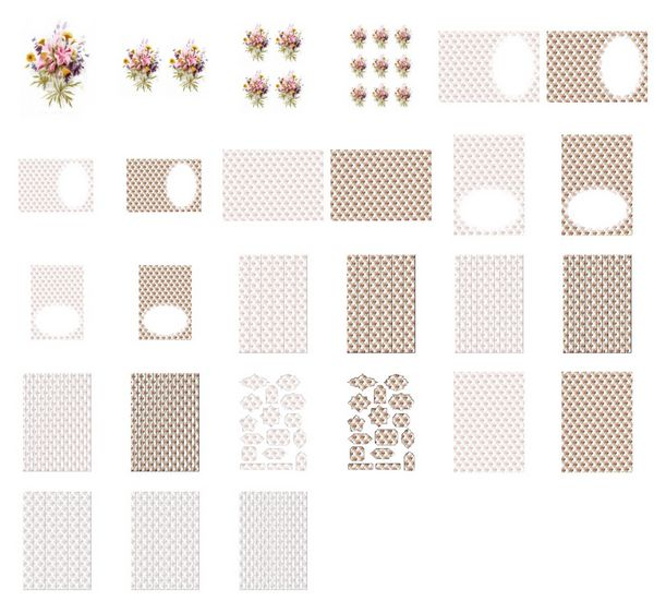 Beautiful Hand Painted Effect Bouquet Set 02 - 27 Pages to Download
