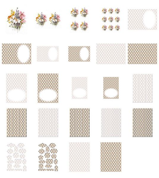 Beautiful Hand Painted Effect Bouquet Set 04 - 24 Pages to Download