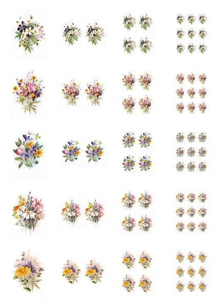 Beautiful Hand Painted Effect Bouquet Toppers Full Set - 20 Pages to Download