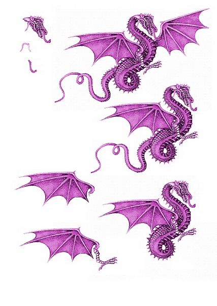 Canvas Effect Dragon Decoupage Sheet 09 - 1 x A4 Page to DOWNLOAD