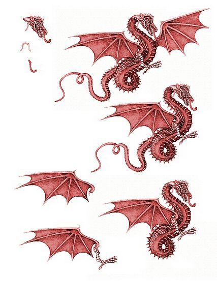 Canvas Effect Dragon Decoupage Sheet 10 - 1 x A4 Page to DOWNLOAD