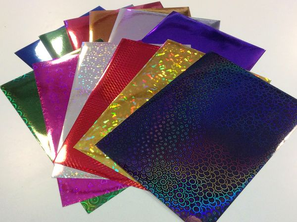 <b>VERY LIMITED </B>Self Adhesive Holographic and Metallic Paper - 48 Sheets - 12 Colours/Designs - 4 of Each