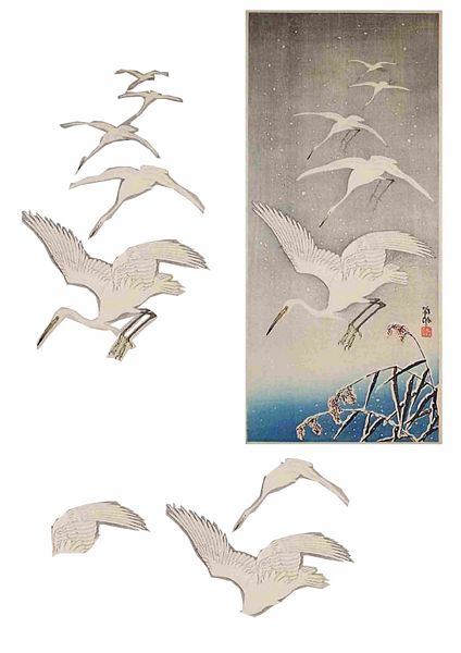 Oriental Flight Set 07 Decoupage - 1 x A4 Page to DOWNLOAD