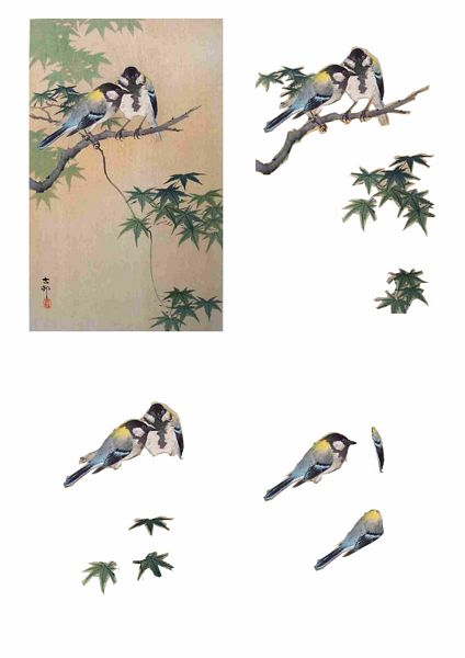 Oriental Flight Set 13 Decoupage - 1 x A4 Page to DOWNLOAD