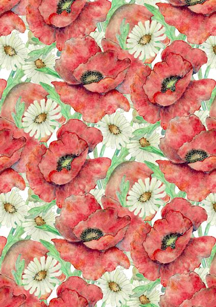 Poppies & Daisies Backing Papers Set - 28 x A4 Pages to DOWNLOAD