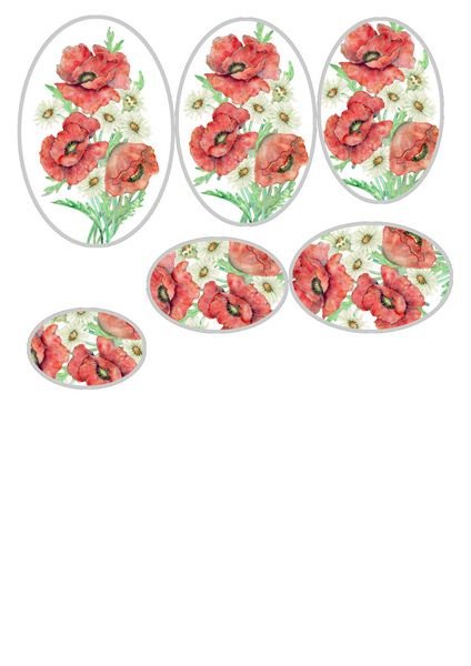 GET CREATIVE 17/02/18 FREE DOWNLOAD Poppies Bouquet Oval Stackers - 1 x A4 Page to DOWNLOAD