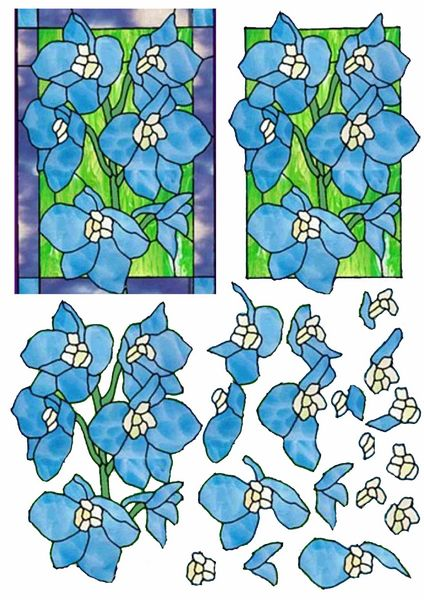 Stained Glass Effect Set 03 Decoupage - 1 x A4 Page to DOWNLOAD