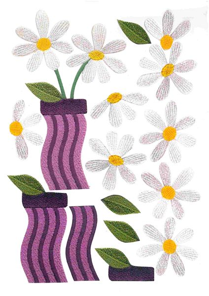 Stitched Effect Daisy Pot Set 01 - 93 Pages to DOWNLOAD