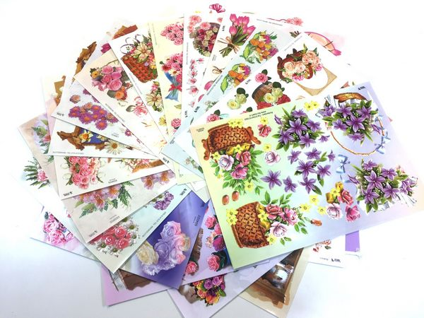 <b>LIMITED STOCK - ONE TIME ONLY</B> 26 x A4 Sheets of Floral TBZ Decoupage