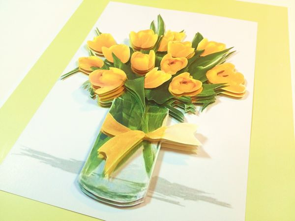 Yellow Tulips in Vase 3D Picture Project 10 Pages to Download