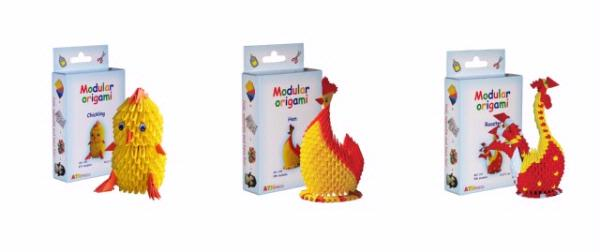 Modular Origami Kits - Chick, Hen and Rooster