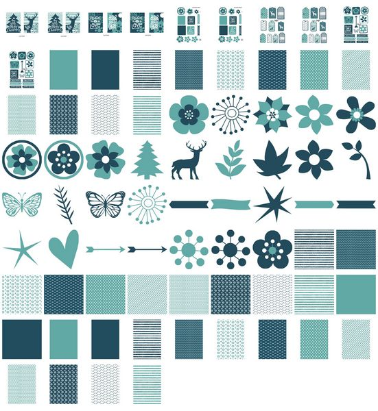 Set 02 Stunning Christmas Creations - <b>Christmas Blue Reindeer and Trees</b> - 76 Pages to Download