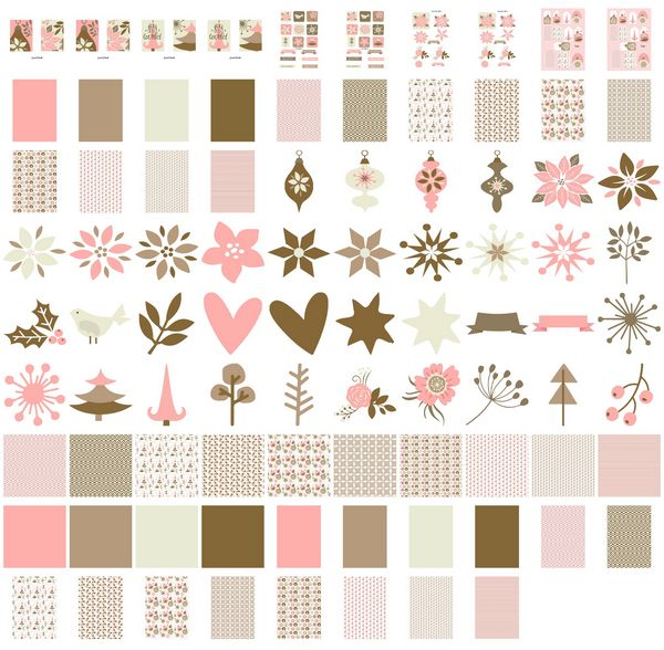 Set 05 Stunning Christmas Creations - <b>Pink Christmas - Poinsettia, Baubles and Trees</b> - 88 Pages to Download