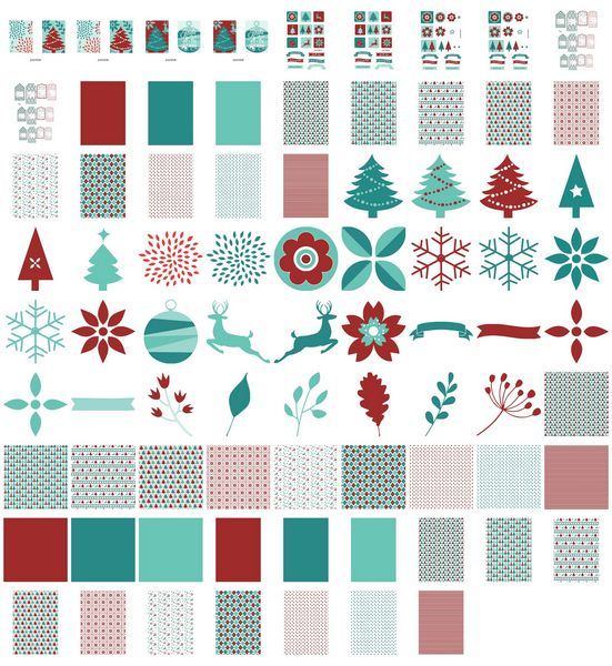 Set 08 Stunning Christmas Creations - <b>Christmas Burgundy Blue Baubles and Trees</b> - 79 Pages to Download