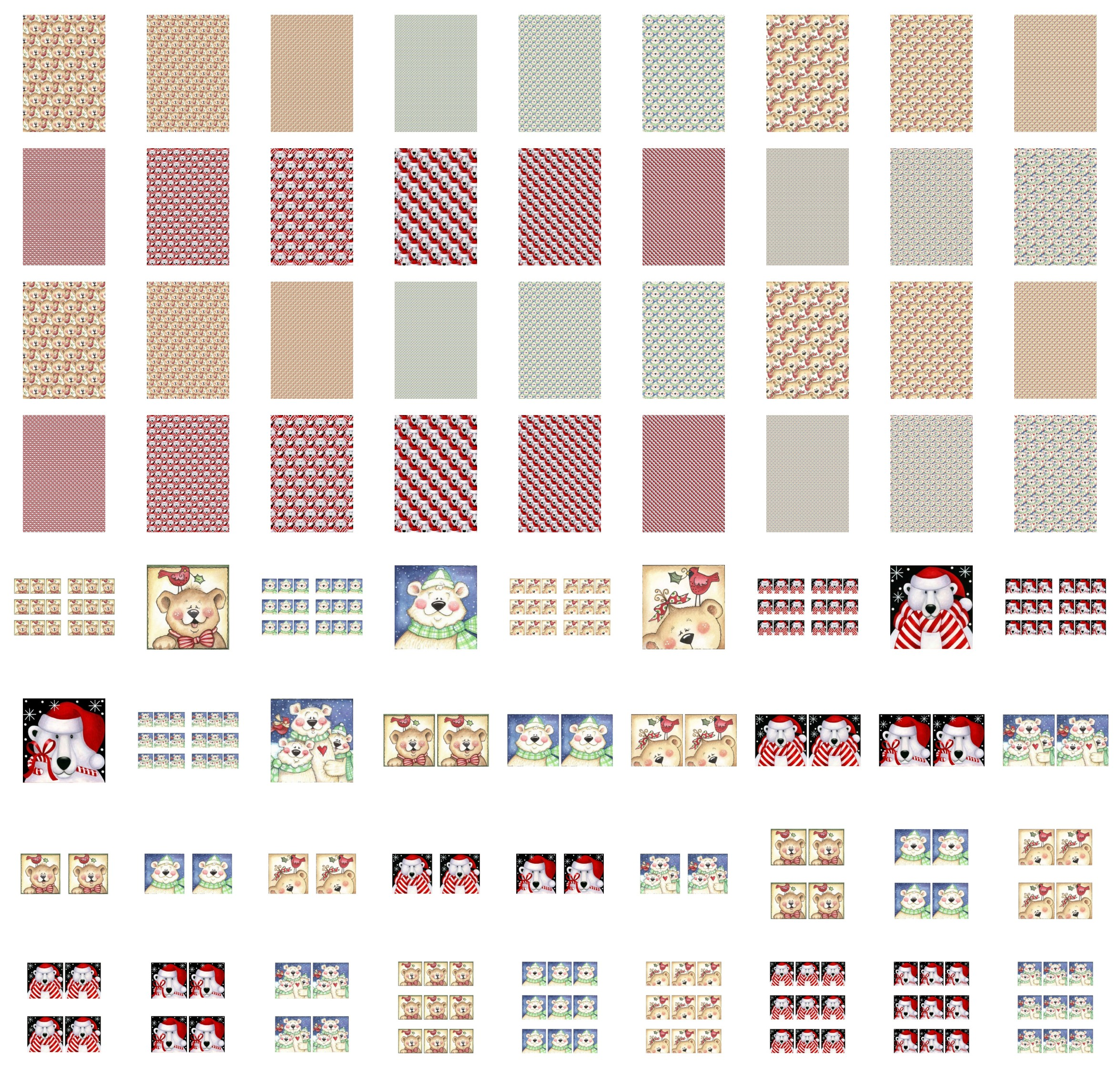 Square Christmas Bear Set Set - 72 Pages to Download