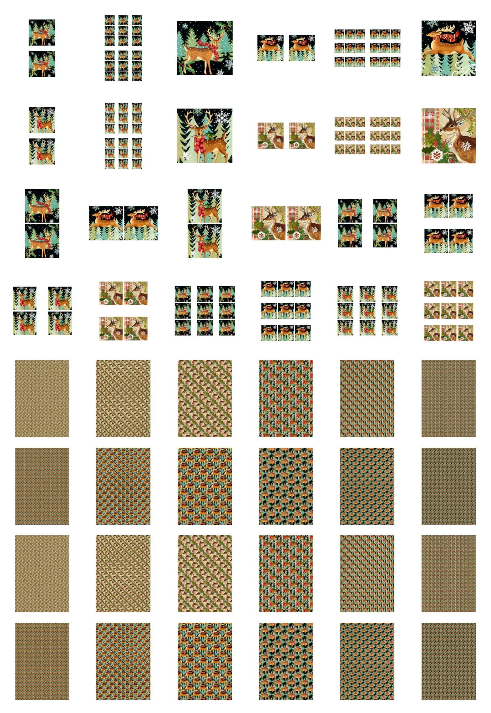 Square Christmas Deer Set Set - 48 Pages to Download