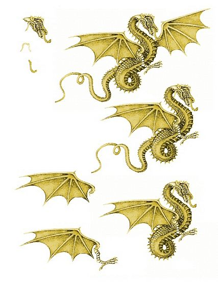 Canvas Effect Dragon Decoupage Sheet 03 - 1 x A4 Page to DOWNLOAD