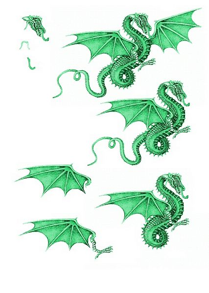 Canvas Effect Dragon Decoupage Sheet 05 - 1 x A4 Page to DOWNLOAD