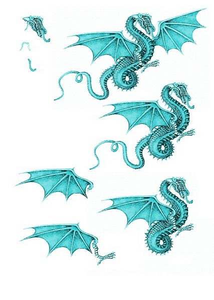 Canvas Effect Dragon Decoupage Sheet 06 - 1 x A4 Page to DOWNLOAD