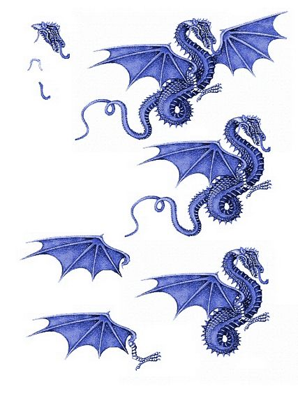 Canvas Effect Dragon Decoupage Sheet 07 - 1 x A4 Page to DOWNLOAD
