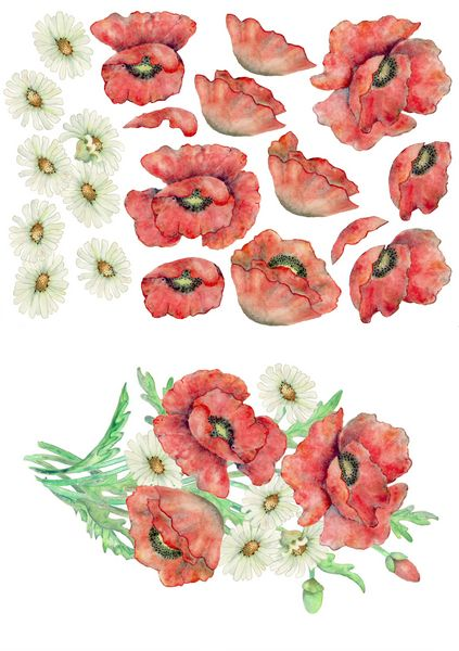 Poppies Bouquet Decoupage Sheet A5 - 1 x A4 Page to DOWNLOAD