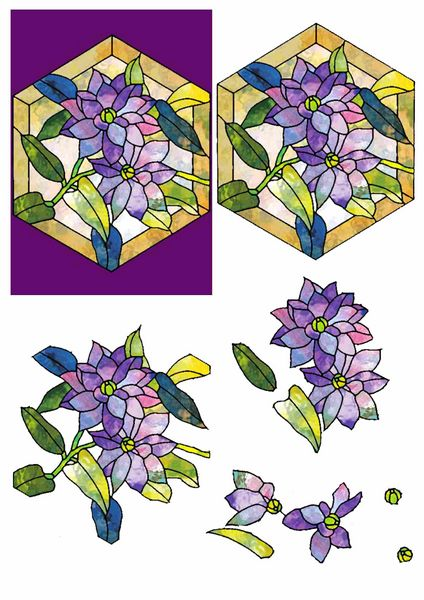 Stained Glass Effect Set 01 Decoupage - 1 x A4 Page to DOWNLOAD