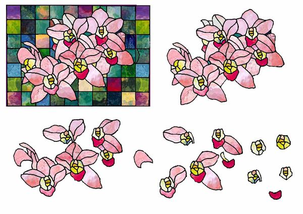 Stained Glass Effect Set 02 Decoupage - 1 x A4 Page to DOWNLOAD