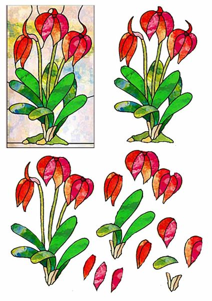 Stained Glass Effect Set 06 Decoupage - 1 x A4 Page to DOWNLOAD