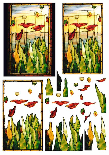 Stained Glass Effect Set 16 Decoupage - 1 x A4 Page to DOWNLOAD