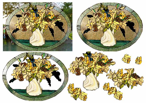 Stained Glass Effect Set 17 Decoupage - 1 x A4 Page to DOWNLOAD