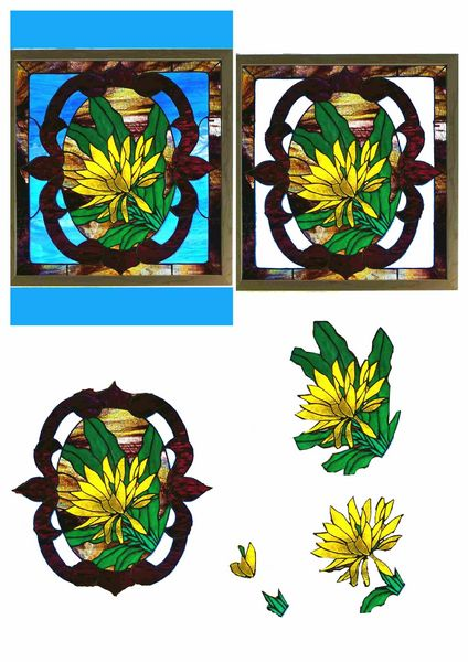Stained Glass Effect Set 19 Decoupage - 1 x A4 Page to DOWNLOAD