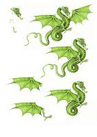 Canvas Effect Dragon Decoupage Sheet 04 - 1 x A4 Page to DOWNLOAD